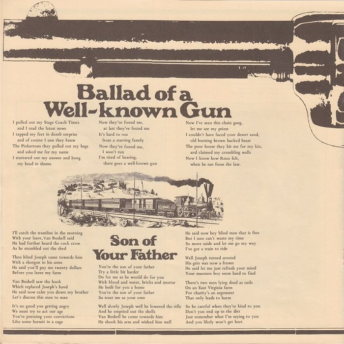 """Lyrics for """"Ballad of a Well-known Gun"""" and """"Son of Your Father""""."""