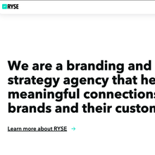 RYSE agency website