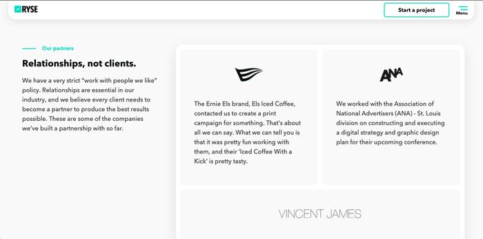 RYSE agency website 3