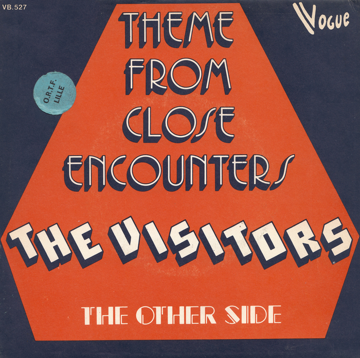 """The Visitors – """"Theme from Close Encounters""""/ """"The Other Side"""" Belgian single cover"""