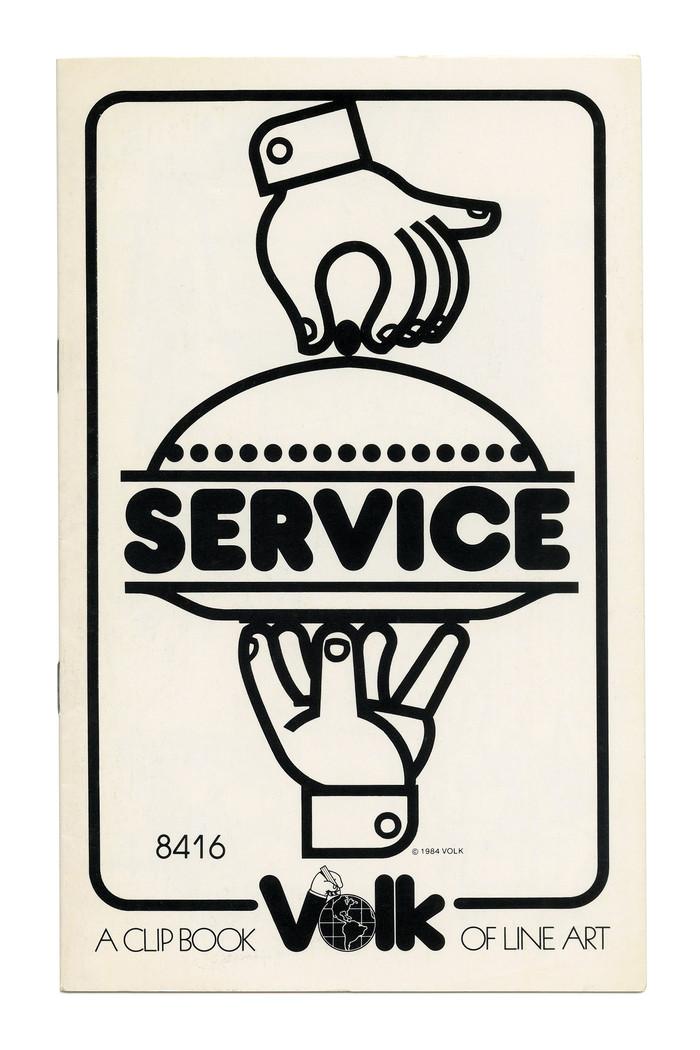 """""""Service"""" (No. 8416) ft.  (Letraset, 1970) served on a platter."""