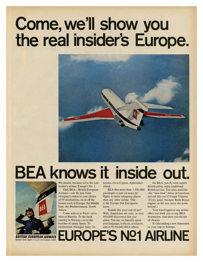 """""""Come, we'll show you the real insider's Europe."""" British European Airways ad (1968)"""