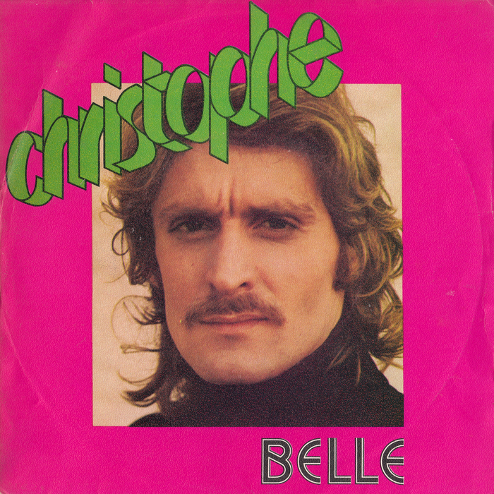 """""""Belle"""" / """"Rock Monsieur"""", 1973 French pressing on Les Disques Motors. [Discogs] """"Belle"""" is set in caps from  Inline, a face designed by Roy Sprong at Rapitype, and adopted in 1972 by French manufacturer Mecanorma. The dimensional letterforms for the name are probably custom."""