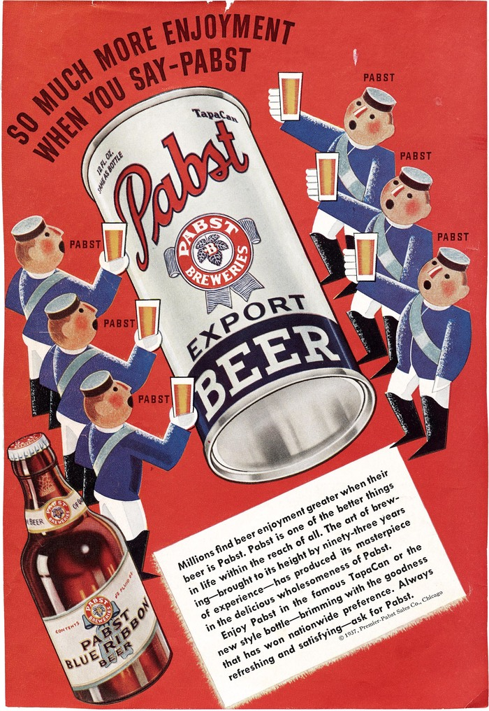 A comical ad for Pabst with a headline set in  and body copy in .