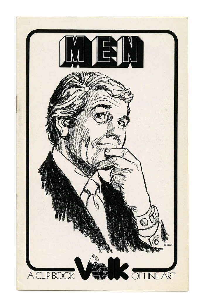 """""""Men"""" (No. 290) ft. , a copy of , distinguished by less deep notches in M and N. The new Volk logo here is framed by tightly spaced caps from  Light."""