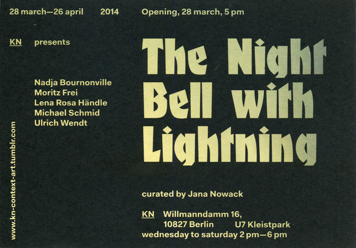 The Night Bell With Lightning flyer (back). Fanfare was designed in 1927 by Louis Oppenheim for the Berlin-based foundry Berthold. The narrow sans serif/blackletter hybrid is used with loose wordspacing.