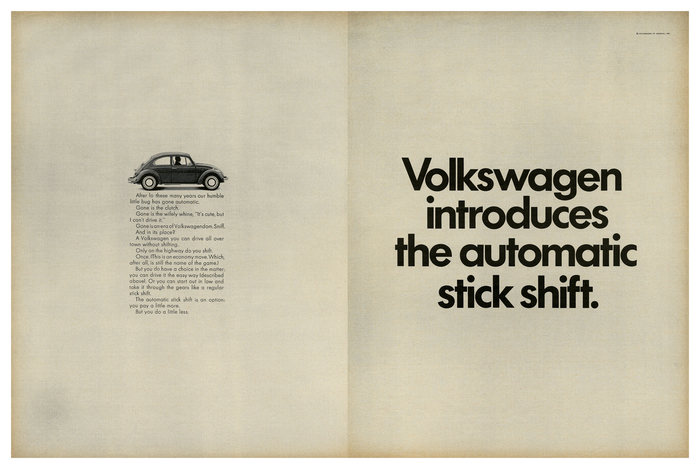 """Volkswagen introduces the automatic stick shift"", 1968."
