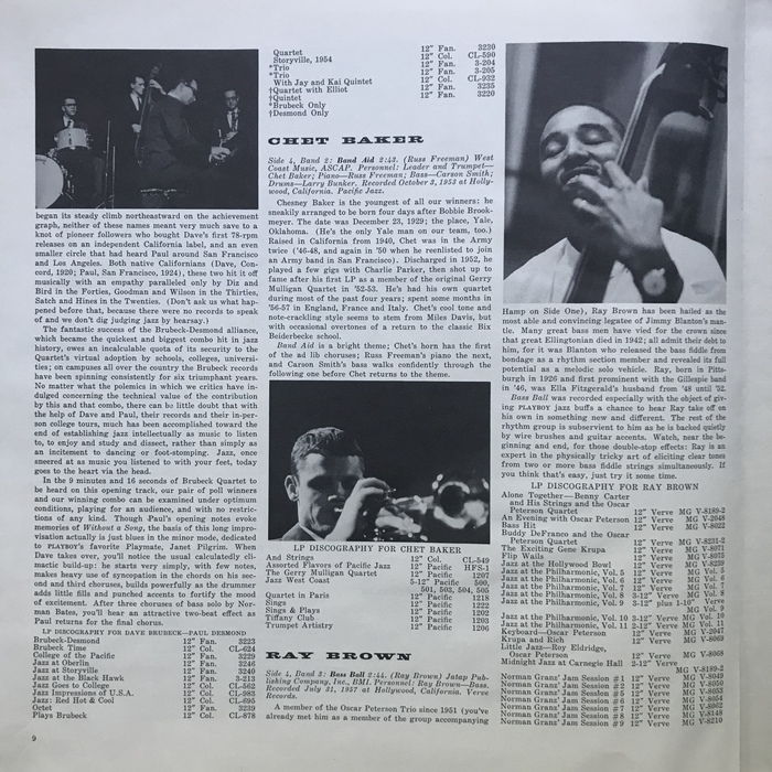 The booklet included extensive notes and bios on all of the performers.