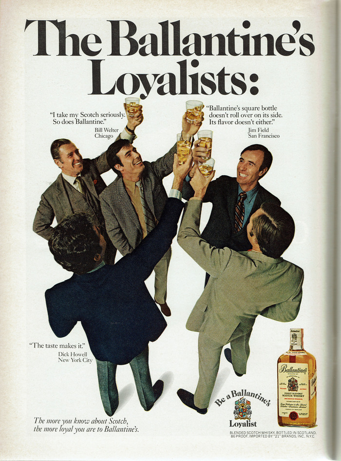 """The Ballantine's Loyalists"" ad (1970)"
