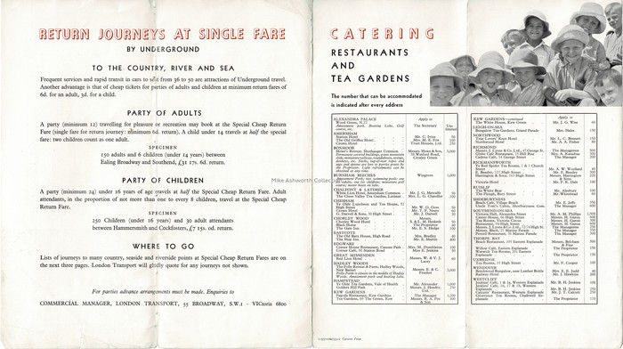 This page shows amongst other information a selection of restaurants and tea gardens that could cater for 'numbers'. They include destinations that even then were on the edge of the rapid suburban growth that was often fuelled by the development of LT's services! The destinations vary from outer London (such as Edgware), acknowledged Chiltern destinations and, of course, Southend on Sea as this was at the time part of a through services arrangement with the District line.