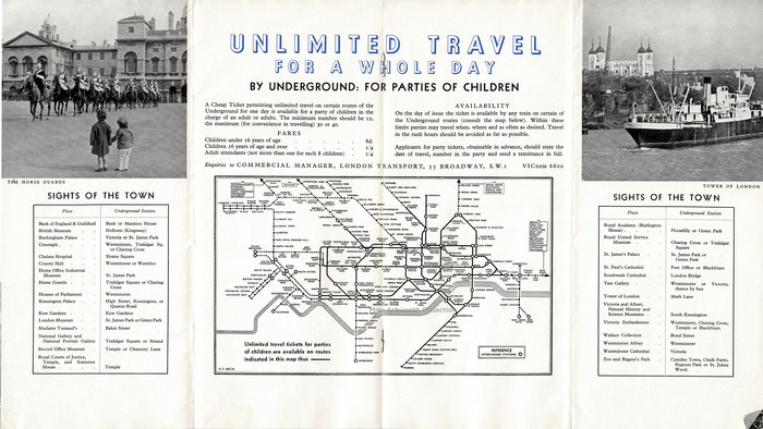 This centre double page shows an interesting variation on the then 'new' tube map, or railway diagram, by Beck, showing the extent of availablility of party travel tickets for children.