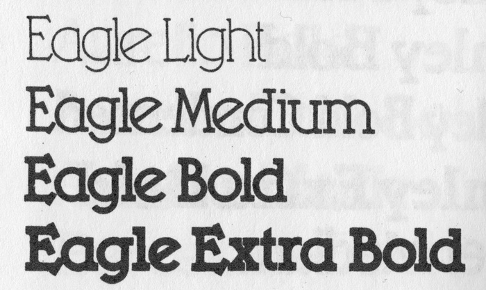 Showing of the Eagle family in the Solotype catalog (1992).