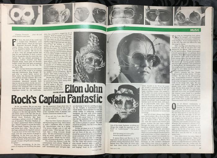"""TIME magazine, """"Rock's Captain Fantastic: Elton John"""", July 7, 1975 2"""
