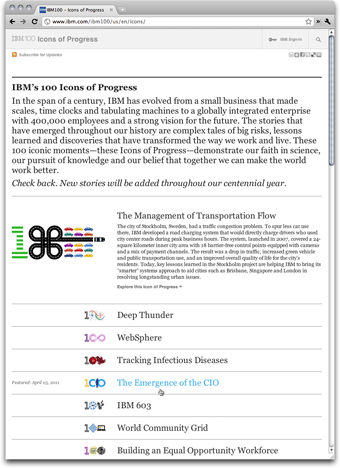 IBM 100 Icons of Progress: Index Page