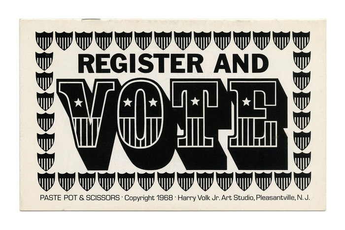 """Register and Vote"" from the Paste Pot & Scissors subseries (No. PP 105), ft.  and . The small type at the bottom is in ."