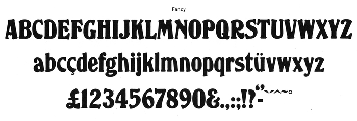 Glyph set of the regular-wide Fancy, from an undated Face Photosetting catalog.