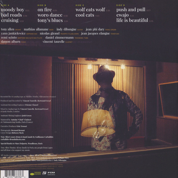 Back cover of the vinyl release.  is paired with .