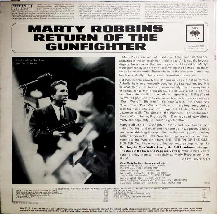 Marty Robbins – The Return Of The Gunfighter album art 2