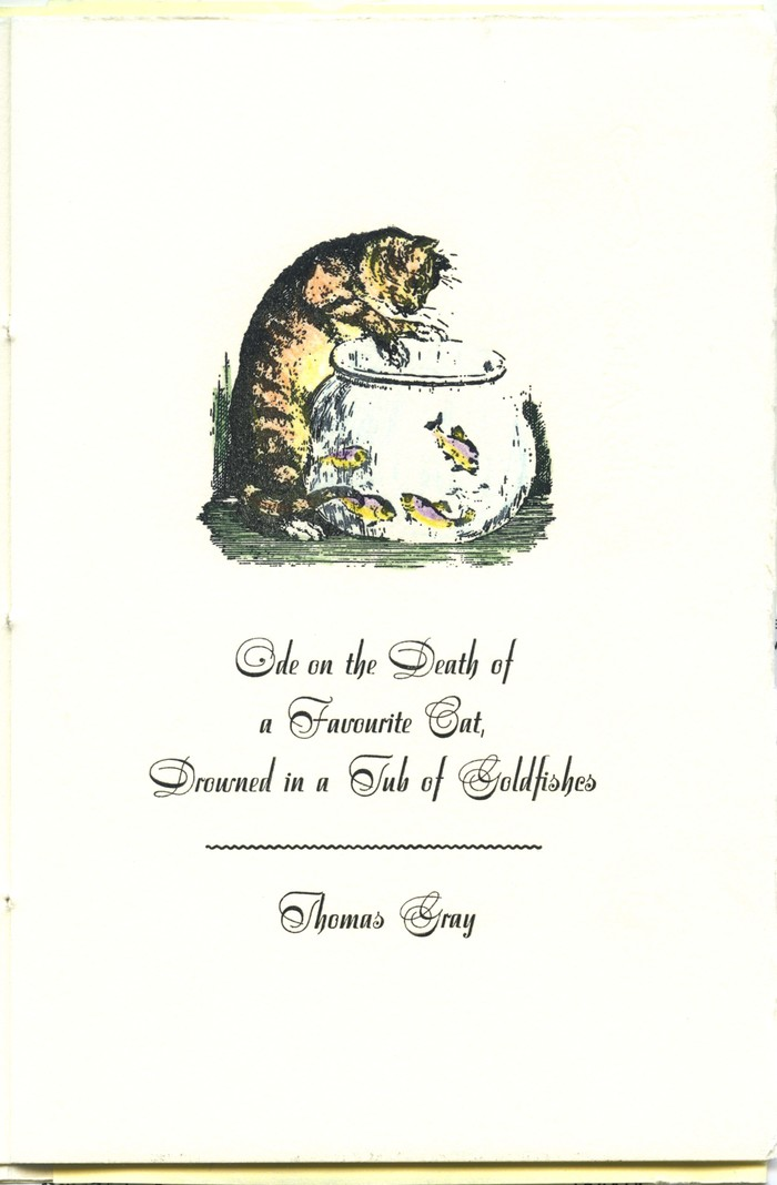 Ode on the Death of a Favourite Cat Drowned in a Tub of Goldfishes by Thomas Gray, Philoxenia Press