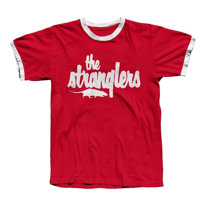 Band T-shirt as sold in the official merch store in 2020. The rat is a mirrored adaptation of the album cover for Stranglers in the Night (1992), designed by Cactus.