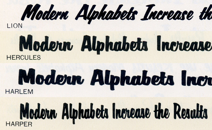 , , , and  form Filmotype's series of bold brush scripts. The latter three are all distinguished from similar faces by a g with a straight, hookless descender (the q curves to the right). I can very well imagine that Harper was picked for this unusual letterform, which adds a curt accent to the center of the wordmark. Image compiled from a c.1958 specimen.