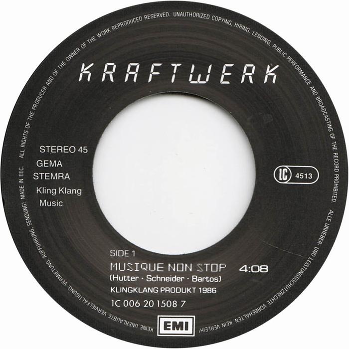 """Kraftwerk – Electric Café LP & """"Musique Non Stop"""" single 3"""