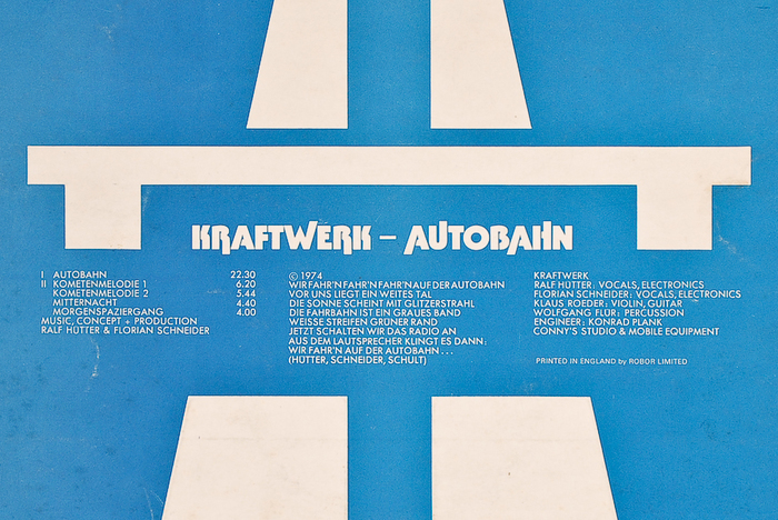 Detail from the back cover, with track list, lyrics of the title track, and credits, alls set in all-caps .