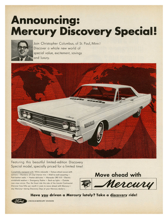 """Announcing: Mercury Discovery Special!"" – ad for Ford Mercury (1966), also set in , here in three of its weights."