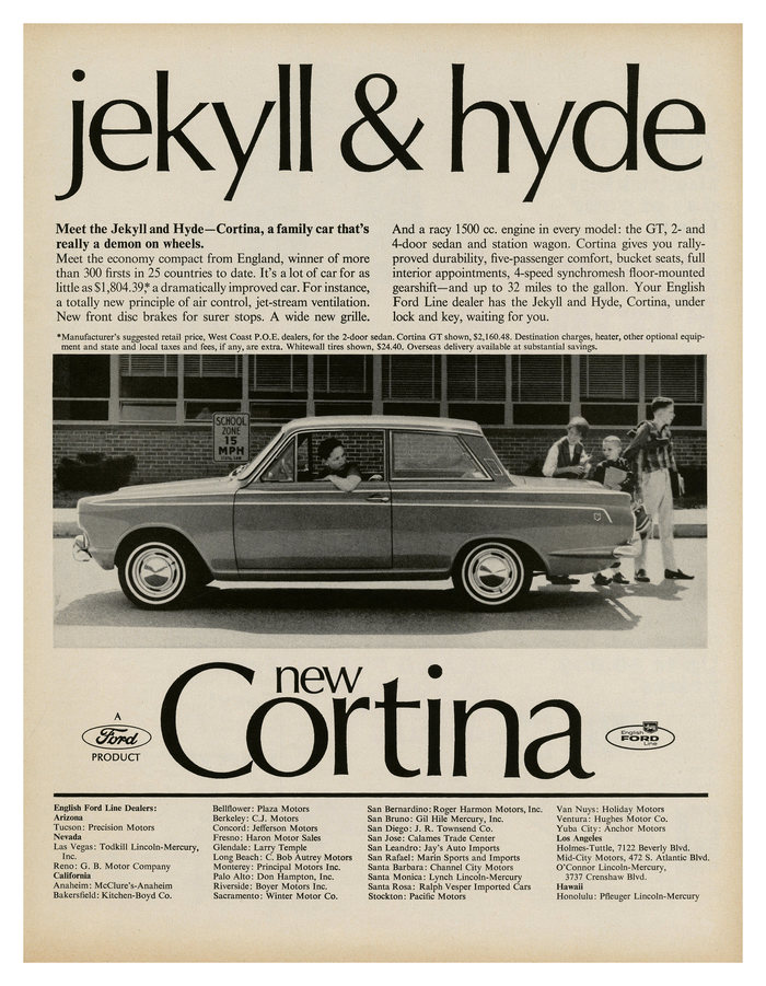 """Jekyll & Hyde"" – ad for Ford Cortina from the English Ford Line (1965), combining big  with text in ."