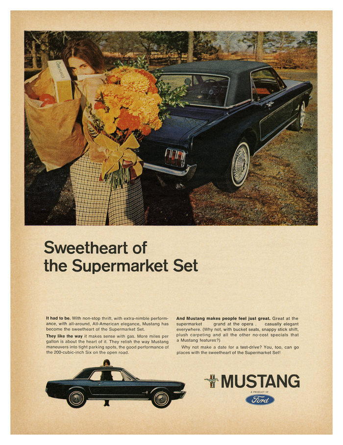 """Sweetheart of the Supermarket Set"" – ad for the Ford Mustang (1966), with  AKA Standard for display type and the similar  for the copy."