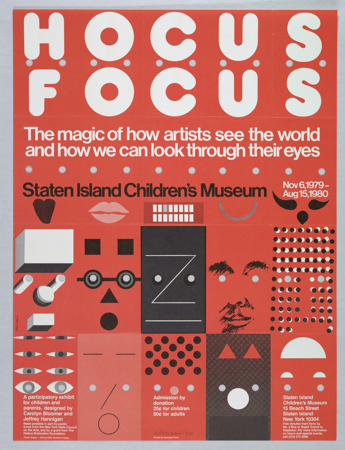 Poster, Hocus Focus, 1979; designed by Keith Godard (American, b. London 1942); USA; gift of various donors; 1981-29-364 — in the collection of the Cooper Hewitt, Smithsonian Design Museum.