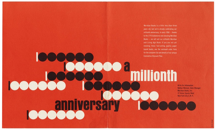 A Millionth Anniversary mailing card for Meridian Books