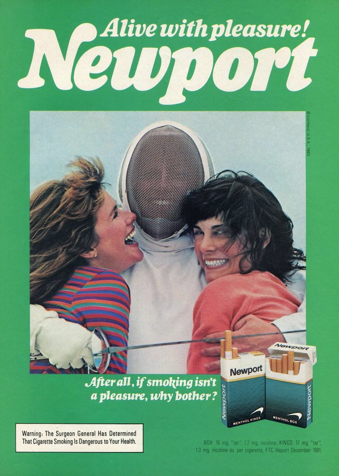 """Alive with pleasure!"" Newport ad"