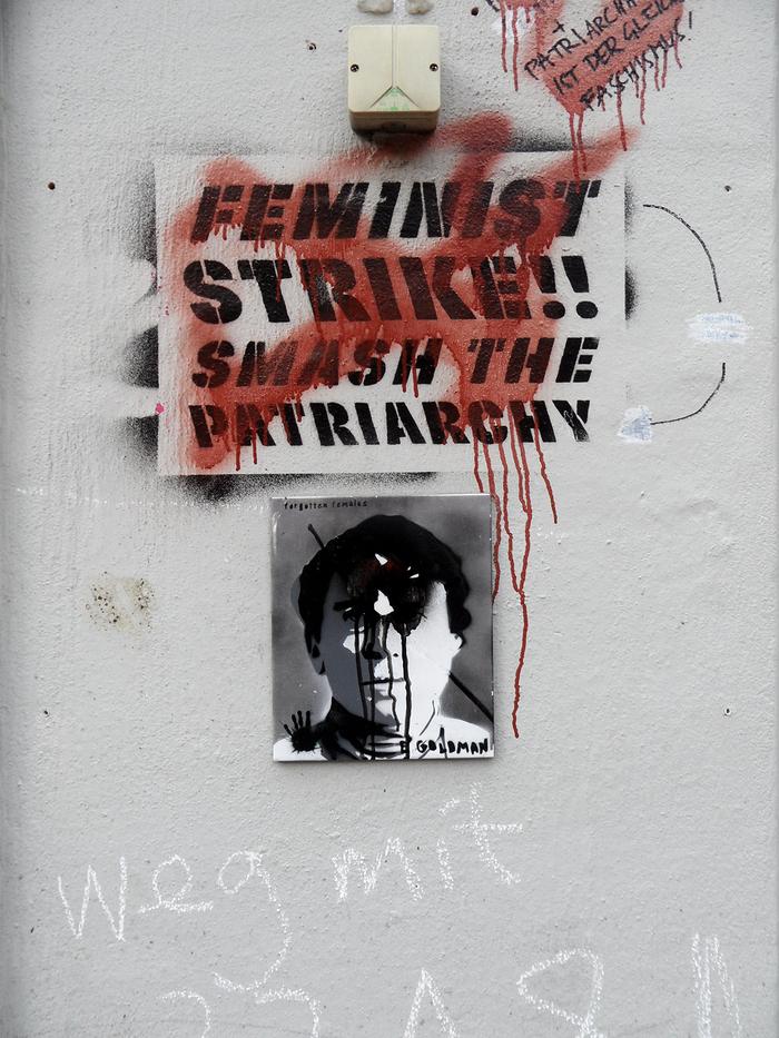 """""""Feminist Strike!! Smash the Patriarchy"""" stencil graffiti"""