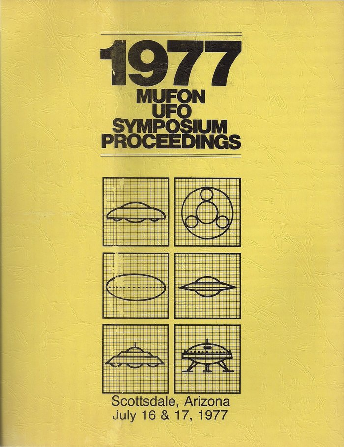 1977's cover makes impactful use of  Black atop a column of six illustrations of common UFO shapes.