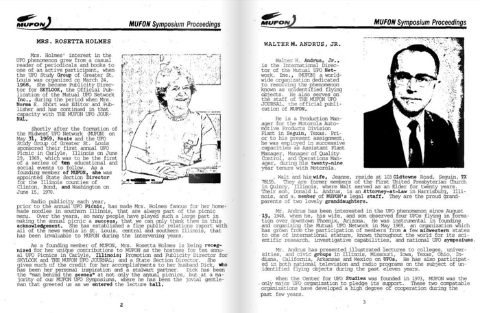 An interior scan of the 1978 booklet, the only one I could find digitized. Headings set in  and body text set in . The MUFON logo typeface remains unidentified (but does not appear to be flying).