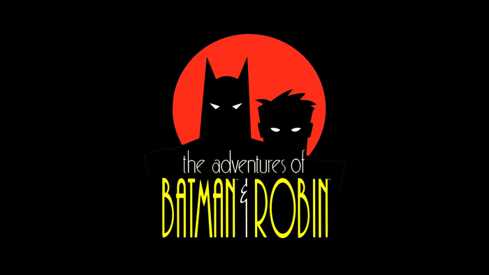 Logo for The Adventures of Batman & Robin, featuring lowercase , a 1990s riff on , and all-caps , both with squeezed letterforms. The ampersand is probably custom.