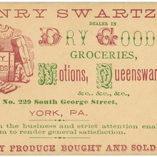 Henry Swartz, Dealer in Dry Goods business card