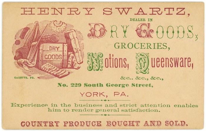Henry Swartz, Dealer in Dry Goods business card
