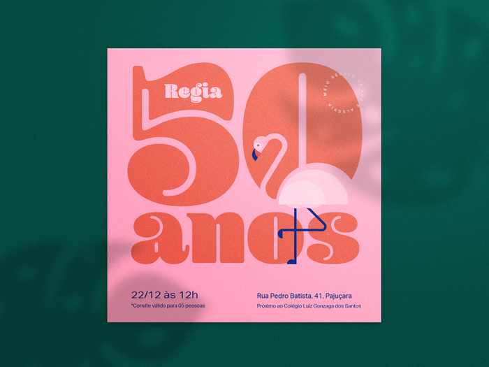 Regia's 50th birthday invitation card