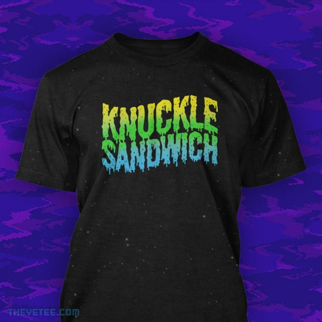 Official Knuckle Sandwich T-shirt, featuring an unpixelated version of the logo.