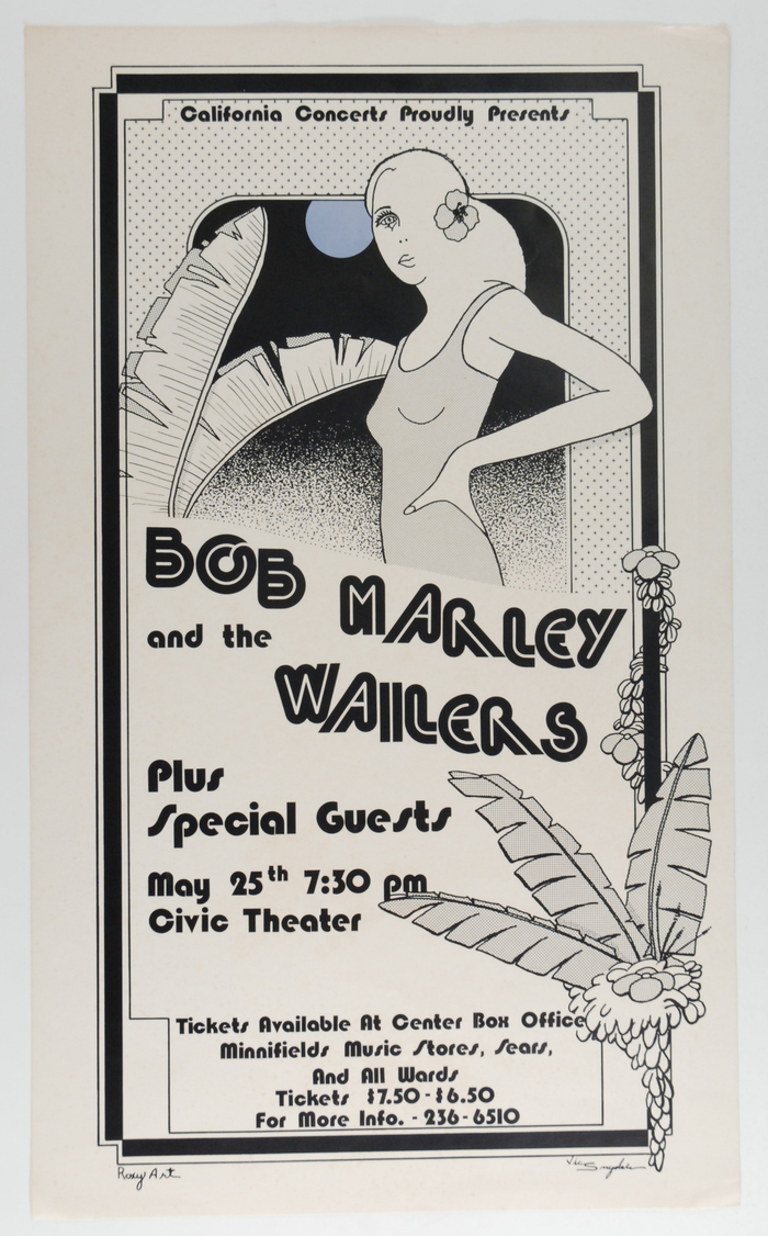 Bob Marley and the Wailers at Civic Theater concert poster 1