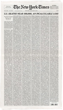 """Incalculable Loss"" front page of <cite>The New York Times</cite> for Memorial Day, 2020"