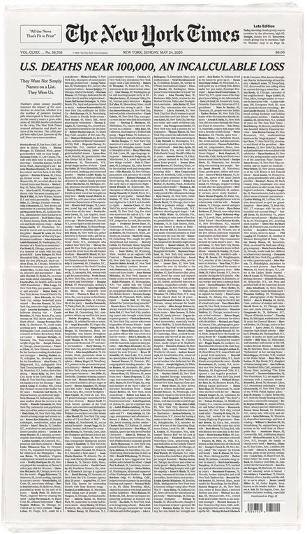 """Incalculable Loss"" front page of <cite>The New York Times</cite> for May 24th, 2020"