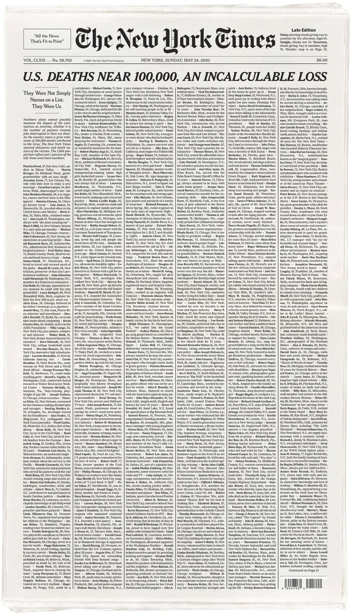 """Incalculable Loss"" front page of The New York Times for May 24th, 2020 1"