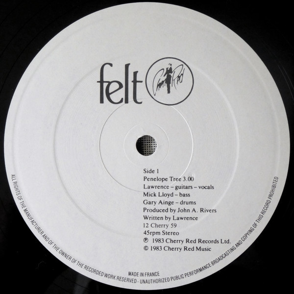 "Felt ‎– ""Penelope Tree"" single record 3"