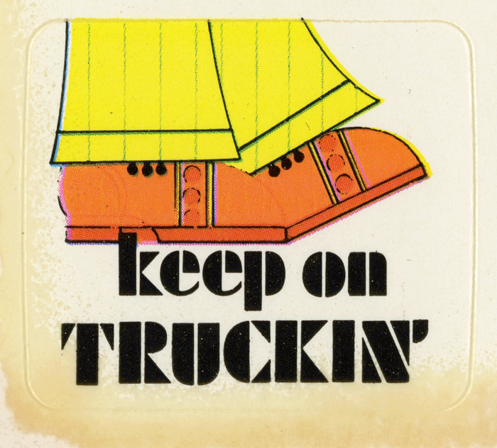 """for """"Keep on truckin''"""". Originally issued by the Bauer foundry in 1929, the modernist stencil face was adopted by Letraset, too."""