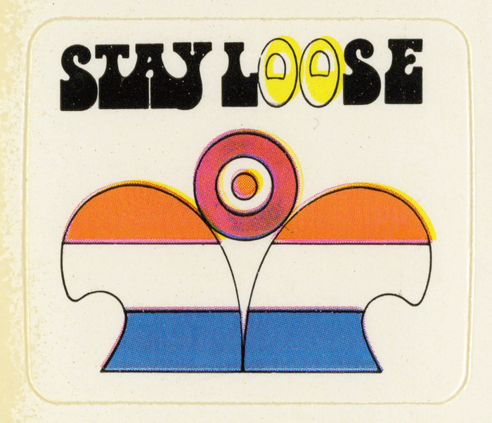 """(Letraset, 1972) for """"Stay loose"""". The bottom-heavy face was designed by Tony Wenman who also created Stripes."""
