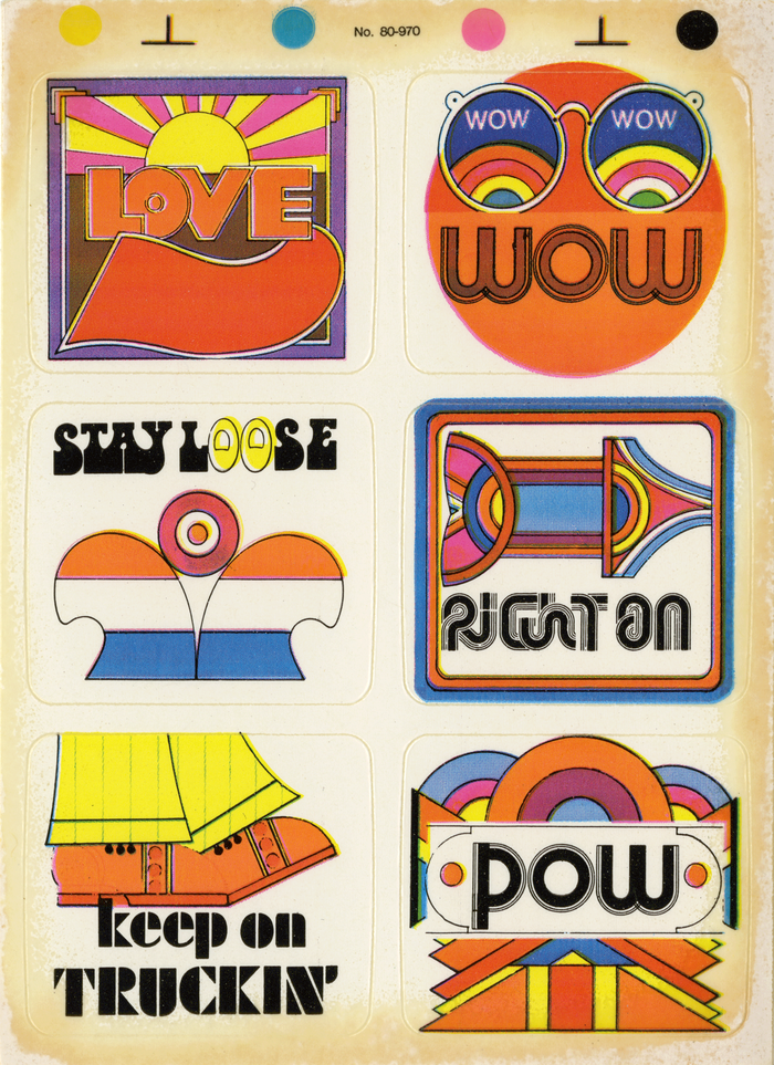 """Full sheet. """"Love"""" appears to be lettering modeled after an extrabold sans. """"Wow"""" is based on Optex."""