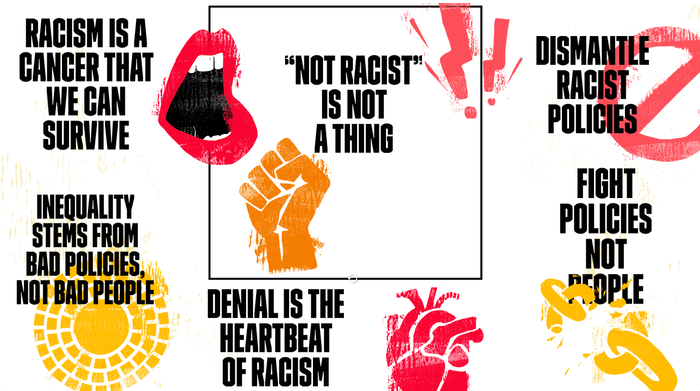 The protest art generator on antiracistposter.com lets one choose from a set of icons and phrases.